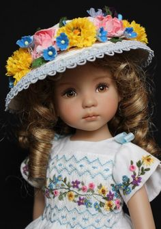"Smocked & Embroidered Easter Outfit for Dianna Effner's 13"" Little Darling Dolls"