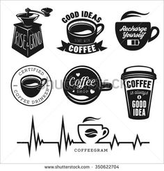 Coffee related posters, labels, badges and design elements set. Good ideas start with coffee. Rise and grind phrase. Vintage Coffee Shops, Vintage Cafe, Logo Vintage, Retro Cafe, Coffee Shop Signs, Coffee Shop Logo, Icon Menu, Cafeteria Vintage, Cafe Logos