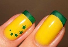 A copa vem aí que tal começar a pensar no look para as unhas ? fica a dica! Beauty Nails, Hair Beauty, Fun Nails, Brazil Flag, World Cup 2014, Beauty Full, Perfect Nails, Short Nails, Trendy Nails