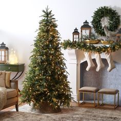 Are you searching for ideas for farmhouse christmas tree? Browse around this site for amazing farmhouse christmas tree images. This unique farmhouse christmas tree ideas seems entirely amazing. Full Christmas Tree, Dollar Store Christmas, Noel Christmas, Winter Christmas, Christmas Wreaths, Christmas Decorations, Tall Skinny Christmas Tree, Xmas Trees, Christmas Quotes