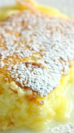 Lemon Pudding Cake // Whip 1/3 c soft butter & 3/4 c sugar - add & beat 3 egg yolks, 1/4 c fresh lemon juice, & 1 T lemon zest - fold in 1/4c flour, 1/8 tsp salt, & 3/4 c room temp milk-fold in egg whites(whipped with 1/4 c sugar) Bake in a water bath @350 for 40-45 min. Cool & sprinkle with powder sugar
