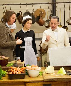 Wes Anderson with Léa Seydoux and Mathieu Amalric behind the scenes of The Grand Budapest Hotel (2014)