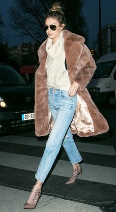 3. Chunky Turtleneck + Furry Coat + Cropped Jeans