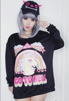 24.50$  Buy now - http://viiht.justgood.pw/vig/item.php?t=j3i88hb44288 - Kawaii Clothing Ropa Cute Pony Unicorn Go To Hell Sweatshirt Rainbow Harajuku