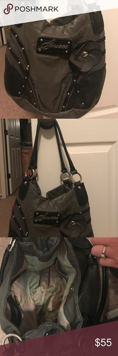 Guess satchel purse Guess black and grey satchel purse gently used Guess Bags Satchels