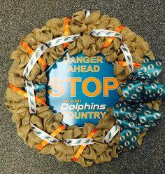 Miami Dolphins burlap wreath