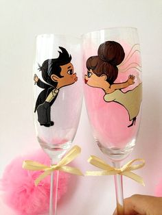 Set of 2 Personalized Hand Painted Wine Glasses by AlenaShop, $66.00