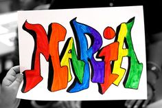 3D names, overlapping, color