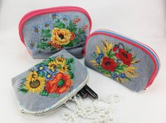 Purse or Cosmetics  Organizer Embroidered Makeup Bag Embroidered Zipper Pouch Floral Zipper Pouch Makeup Pouch Makeup Bag