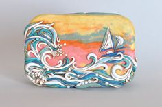Sailing on Rough Seas. Unique hand sculpted original polymer clay covered Altoid tin
