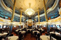 Inside the Voyager of the Seas luxury cruise liner ... the dining room.