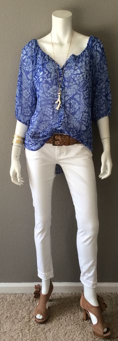 Daily Look: CAbi Spring '15 Peasant Blouse, White Skinny Jean & Hammered Cuff with nude sandals, our vintage Woven Belt and a cool ceramic coral necklace. #springfashion #cabiclothing