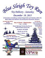 Goodyear, AZ - Dec. 19, 2015: Blue Sleigh Toy Run. The purpose of the Blue Sleigh Toy Run is to bring motorcyclists together for a very worthy purposes: the joy of seeing a needy child receiving a gift at Christmas.
