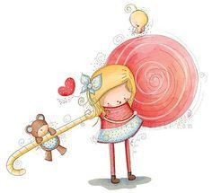 Children Illustration - Nursery - Little Cute Candy Girl And Her Teddy Bear - A4 via Etsy