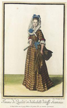 """1687 French Fashion plate """"Recueil des modes de la cour de France, 'Femme de Qualité en Déshabillé Détoffe Siamoise'"""" at the Los Angeles County Museum of Art, Los Angeles"""