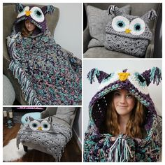 Ravelry: Bulky & Quick Hooded Owl Blanket by MJ's Off The Hook Designs