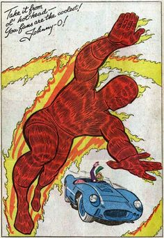 Johnny Storm, the Human Torch - pinup - Jack Kirby