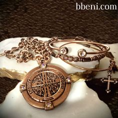 Maya necklace, Trust beaded Bangle, Resurrection cross Charm bangle and Bracelet de Cristal in rose gold with peach Swarovski crystals