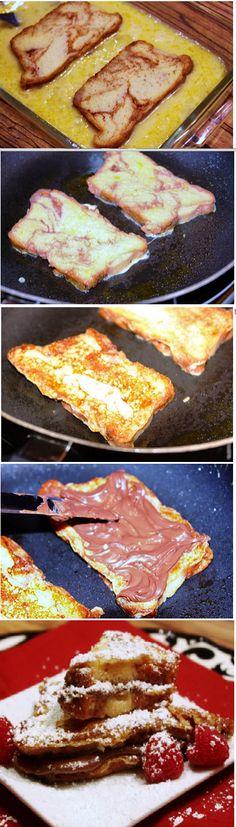 Chocolate Hazelnut Filled Cinnamon French Toast | Homemade Food Recipes