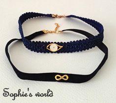 handmade fashion choker necklaces, evileye & infinity χειροποίητα κολιέ τσόκερ με επίχρυσο λευκό ματάκι κ επίχρυσο στοιχείο άπειρο https://www.facebook.com/Sophies-world-712091558842001/