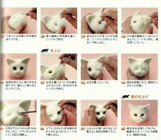 needle felted animals This is a Full Complete Japanese Craft E-Book Pattern-Needle Felt Realistic Cats,e-Book The Book introduces 4 projects with many needle felt realistic ph Wool Needle Felting, Needle Felting Tutorials, Needle Felted Animals, Felt Animals, Book Crafts, Craft Books, Paper Crafts, Diy Crafts, Felt Cat