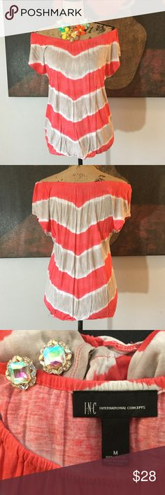 Off shoulder chevron top by I.N.C. 100% rayon, feels like jersey. Off shoulder coral, tan and white chevron top. Measures a tad over 17 inches across the bust. INC International Concepts Tops Tees - Short Sleeve