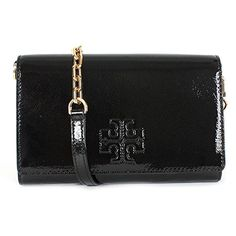 Tory Burch Charlie Patent Leather Flat Wallet Crossbody Style No 34050 Black -- You can find out more details at the link of the image. (This is an affiliate link)