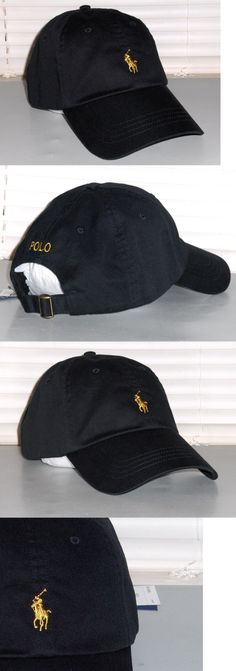 Hats 52365: Polo Ralph Lauren Men S Cotton Chino Hat, Sport Baseball Cap, Black, Gold, Nwt -> BUY IT NOW ONLY: $43.95 on eBay!