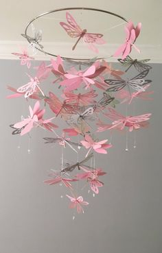 Dragonfly mobile in Pink and Gray/Nursery hanging decor/ Kids Paper Flowers Craft, Flower Crafts, Diy Flowers, Paper Crafts, Diy Party Props, Cute Crafts, Diy And Crafts, Mobiles, Butterfly Decorations