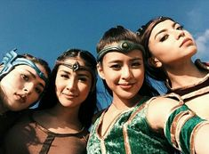 What Encantadia Stars Glaiza, Kylie, Gabbi, and Sanya Keep In Their Makeup Bags - Star Style PH Encantadia 2016 Costume, Encantadia Costume, Warrior Outfit, Warrior Costume, Kylie Padilla, Raiden Fighter, Gabbi Garcia, Black Aesthetic Wallpaper, Sanya