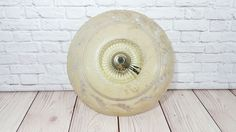 Vintage Porcelain Light Fixture with Pale Yellow Glass Ceiling Light Globe by maliasmark on Etsy
