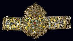 Tzamalas Traditional Costumes: silver belt from Thasos island, with floral ornaments of multicoloured cloisonné enamel, granulation and red glass stones. From the Benaki Museum, Greece. Originally posted by Joost Daalder. Greek Jewelry, Ethnic Jewelry, Antique Jewellery Designs, Antique Jewelry, Silver Jewellery, Greek Traditional Dress, Benaki Museum, Contemporary Decorative Art, Thasos