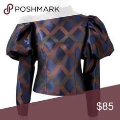 Puff sleeve long sleeve blouse Fabric: 100% Polyester.. Olive Color Gracia Tops Button Down Shirts