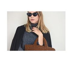 Faux fur bag / oversized black coat / black sunglasses / AW Outfit by Instagram @ingasinkeviciene  #faux #furbag #oversized #coat #blacksunglasses #aw #fashion #style #minimalist
