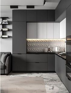 Kitchen decor and decoration idea in modern and so popular style this year! Kitchen Room Design, Luxury Kitchen Design, Kitchen Cabinet Design, Kitchen Sets, Home Decor Kitchen, Interior Design Kitchen, Home Kitchens, Modern Kitchens, Modern Kitchen Cabinets