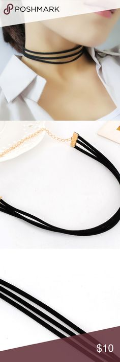 Black Faux Leather Layered Choker Faux leather layered choker with extender chain. Jewelry Necklaces