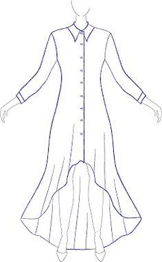 PAP da modelagem do vestido Chemisier Mullet.  MIB - Modelagem Industrial Brasileira