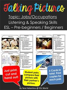 Picture prompts to practice speaking and listening. Jobs/occupations