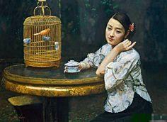 陈逸鸣油画作品:仕女系列-2 - 凝思 1999年作 作品尺寸:86.4*116.9cm