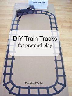 DIY train tracks for pretend play - Preschool Toolkit Transportation Activities, Train Activities, Preschool Activities, Trains Preschool, Train Crafts Preschool, Vbs Crafts, Polar Express Theme, Dramatic Play, Childhood Education
