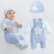 Macacão de bebê de algodão de manga comprida romper do bebê dos desenhos animados bebê recém-nascido roupas romper + calças 2 pcs conjunto de roupas(China (Mainland))