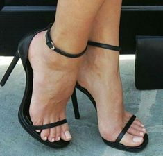 love her pretty feet & sexy heels! Stilettos, Black Stiletto Heels, Sexy Legs And Heels, Black High Heels, Ankle Strap Heels, Strappy Heels, Shoes Heels, Sexy Sandals, Cheap Sandals