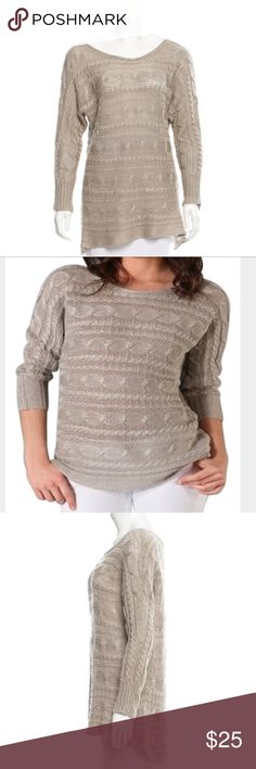 Alice + Olivia Hayden Sweater Gray Alice + Olivia linen loose knit sweater with dolman sleeves, scoop neck and cable pattern throughout. Has a few pulls as seen in pictures but other than that, in excellent condition. Color is most accurately shown in pictures of actual item Alice + Olivia Sweaters