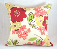 Shabby chic throw pillow cover floral red yellow by theandsuchshop, $20.00