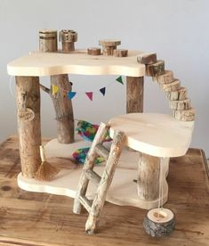doll furniture This Tree House is made with clean dry branches and smoothly sanded pine boards. This set comes with: Tree house - measures approximately: 11 tall and 13 x Wooden Dollhouse, Wooden Dolls, Diy Dollhouse, Wooden Crafts, Wooden Diy, Wooden Tree House, Toy Trees, Fairy Tree, Gnome House