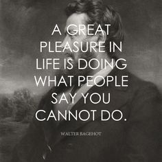 A great pleasure in life is doing what people say you cannot do. - Walter Bagehot