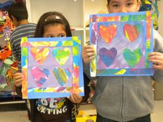 Jim Dine hearts made with painted paper - for third grade with leftover EC paper Kindergarten Art Projects, School Art Projects, Square One Art, 2nd Grade Art, Third Grade, Valentines Art, Painted Paper, Art Lesson Plans, Dental Health