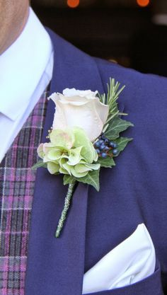 Bride Groom's Quicksand Rose Boutonniere not with all the leaves in front