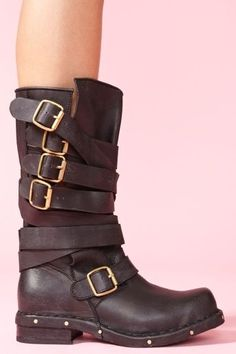 Rogue Strapped Boot - love this general style for boots-they tend to be more cost effective than their riding styled counterparts and have a little rock'n'roll going on which I like. Bootie Boots, Shoe Boots, Shoe Bag, Grey Booties, Crazy Shoes, Me Too Shoes, Over Boots, Mode Shoes, Mocassins