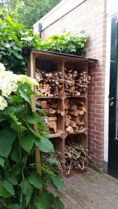 There's a whole lot of various ways to store your firewood to ensure it's prepared to burn when you want it. If you would like to keep the firewood dry and to Indoor Firewood Rack, Firewood Shed, Firewood Storage, Rustic Outdoor Spaces, Minimalist Fireplace, Simple Shed, Wood Store, Wooden Sheds, Outdoor Fire